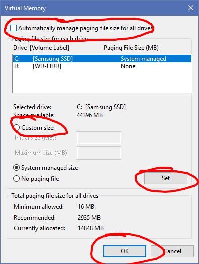 Αλλαγή στην εικονική μνήμη για αργό υπολογιστή