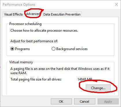 Ρυθμίσεις Windows 10 για αλλαγή της εικονικής μνήμης